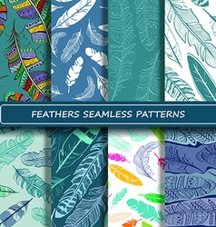 Set of blue white abstract ethnic bird feather vector