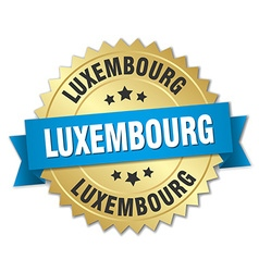 Luxembourg round golden badge with blue ribbon vector