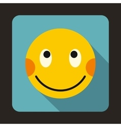 Embarrassed emoticon with flushed red cheeks icon vector