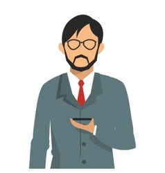 Businessman holding cellphone icon vector