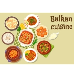 Balkan cuisine traditional meat dishes icon vector