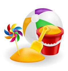 beach objects accessories for childrens games vector image