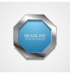 Blue octagon design with metal frame vector