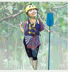 Cartoon happy woman in a helmet stands vector