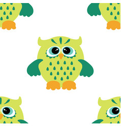 cartoon style seamless owl pattern fir ki vector image