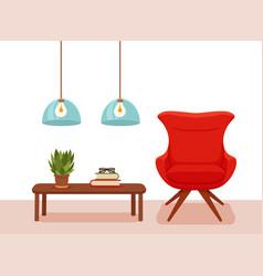 Colorful cozy interior warm bright winter vector