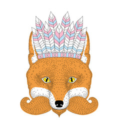 Cute boho red fox portrait face with war vector