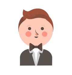 Cute boy in tuxedo and bowtie with round head vector
