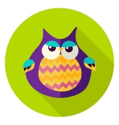 Cute owl circle icon vector