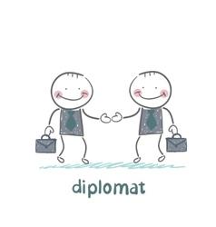 Diplomats shake hands vector