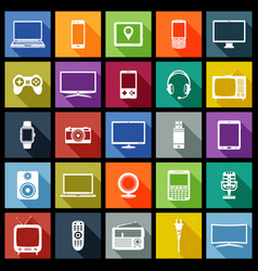 electronic devices flat design icons vector image