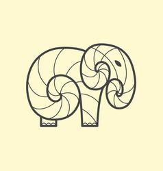 Elephant logo design line art vector