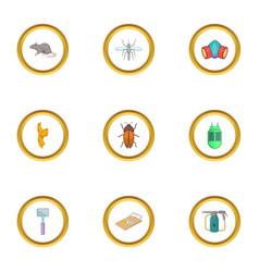 Exterminator icons set cartoon style vector