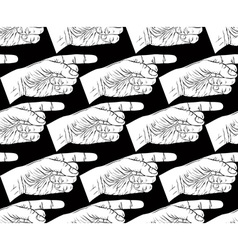 Finger pointing hands seamless pattern black and vector image vector image