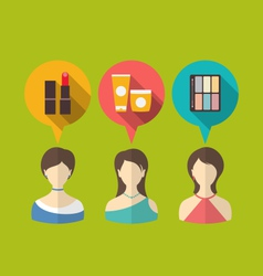flat icons of three woman with speech and thought vector image vector image