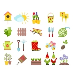 Garden tools and other elements of gardening flat vector