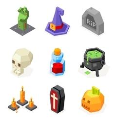 Halloween Icons Set Pumpkin Witch Hat Cauldron vector image