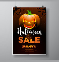 Hallowen sale with pumpkin on black sky vector