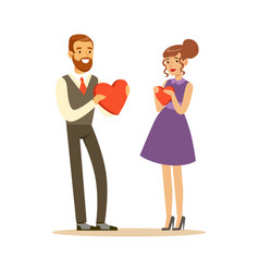 happy elegant couple in love giving red hearts to vector image vector image