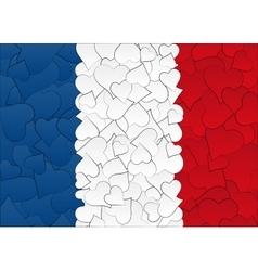 Hearts doodles hand drawn flag France with love vector image