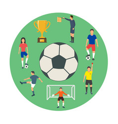 icons of young people playing football vector image vector image