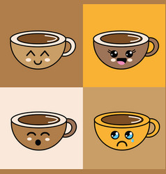 Kawaii faces coffee cup icon vector