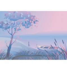 landscape boat bulrush vector image