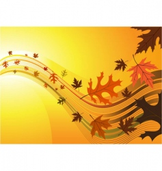 leaf with wave background vector image