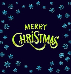 Merry Christmas green glittering lettering design vector image vector image