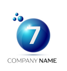 Number seven splash logo blue dots and bubbles vector