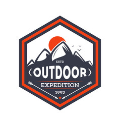 Outdoor hiking expedition vintage isolated badge vector