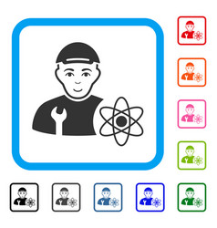 Science engineer framed cheerful icon vector
