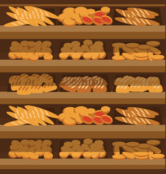 seamless pattern bakery shelf with bread in vector image