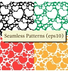 Seamless patterns set with hearts vector image vector image