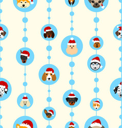 Seamless wallpaper with heads dogs in santa hats vector