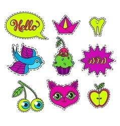 Set of cartoon badge sticker vector