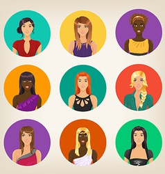 set of nine different avatars in modern style vector image