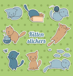 Set of stickers with cute kittens on green vector