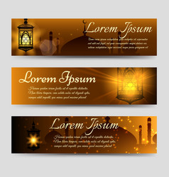 shining arabic banners template vector image vector image
