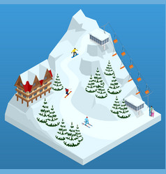ski resort slope people on the ski lift skiers vector image vector image