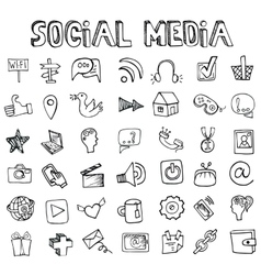Social Media Icons setDoodle sketchy elements vector image