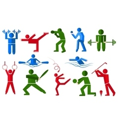 Sports people in various poses boxer golfer vector