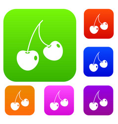 two cherry berries set color collection vector image vector image