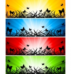 vector set of four banners vector image vector image