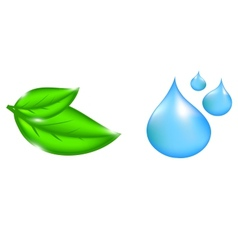 Water drop and plant icons vector image