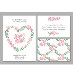 Wedding invitation card suite with daisy flower vector