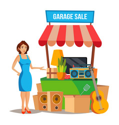 Yard sale household items sale woman vector