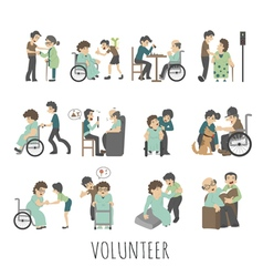 Young volunteer set eps10 format vector