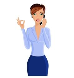 Young woman call center operator vector
