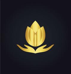Lotus flower meditation spa gold logo vector